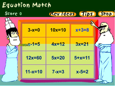 http://www.bbc.co.uk/schools/mathsfile/shockwave/games/equationmatch.html