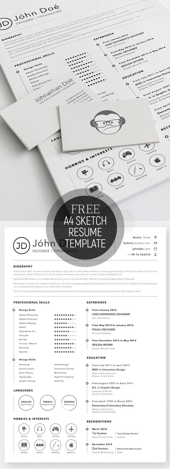 Template Resume / CV Terbaru dan Terbaik 2017 - Free A4 Resume Sketch Template