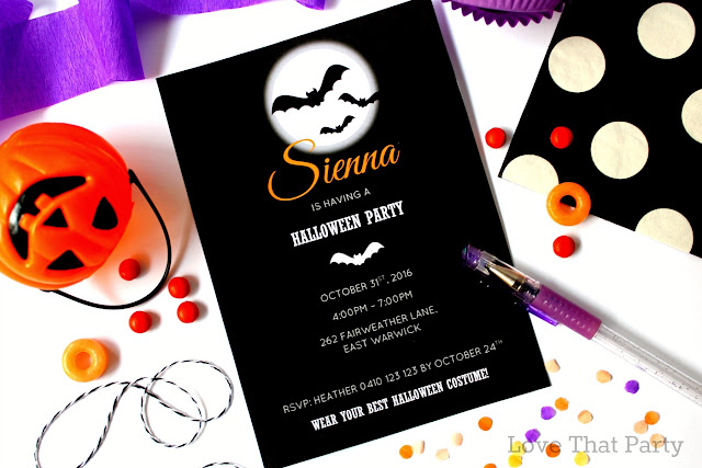 image of kids bat halloween party invitation black white orange purple