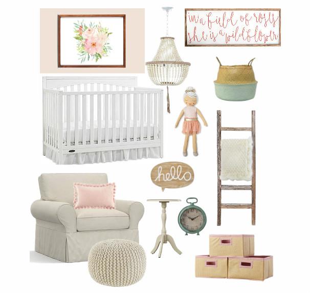 Nursery Mood Board | Blush Pink Nursery For Baby Girl ...