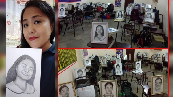 Teacher sketches portraits of her 27 students as Christmas gifts