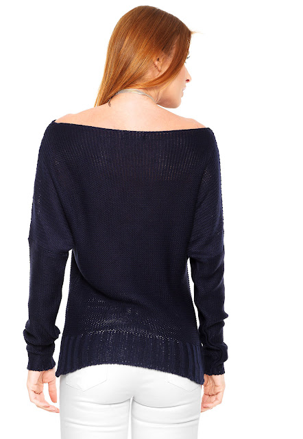 Moda Suéter FiveBlu Tricot Color Azul marinho