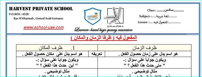 اوراق عمل درس المفعول فيه مادة اللغة العربية للصف السادس الفصل الاول 2020- مدرسة الامارات
