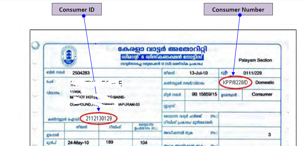 Information on Water Bill Status and Payment online: Kerala