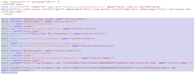 adding twitter cards meta tags to blogger