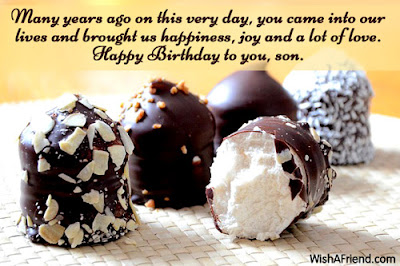 Happy Birthday wishes quotes for son and: many years ago on this very day,