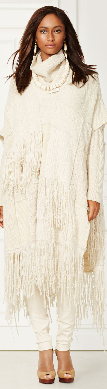 CASHMERE-BLEND FRINGED PONCHO