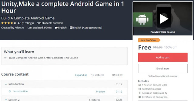[100% Off] Unity,Make a complete Android Game in 1 Hour| Worth 19,99$