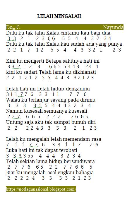 Kumpulan Soal Pelajaran 8 Lirik Lagu Lelah Mengalah