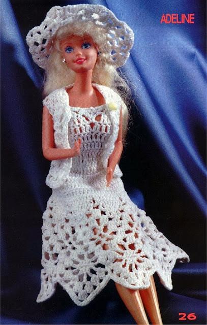 Vestido bolero e chapéu de crochê Adeline para Barbie com gráficos