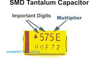 Markings of SMD tantalum capacitor