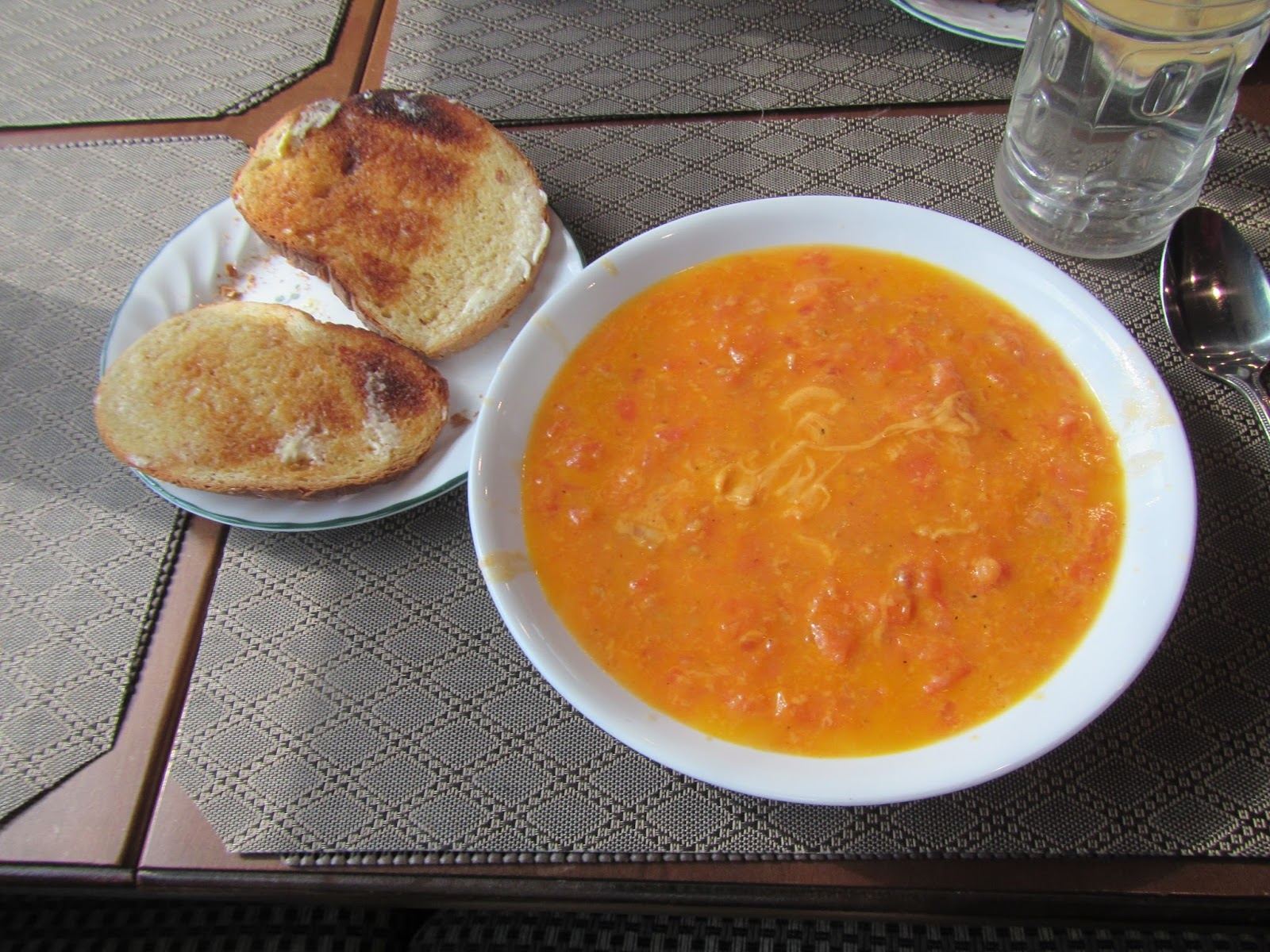 Homemade Tomato/Cheese and Bacon soup with a side of toast.