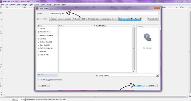 screen shot showing how to name a file and export an image in GIMP