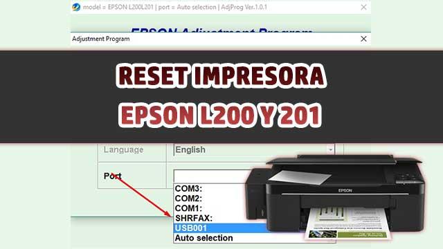 resetear almohadillas de la impresora EPSON L200 y L201