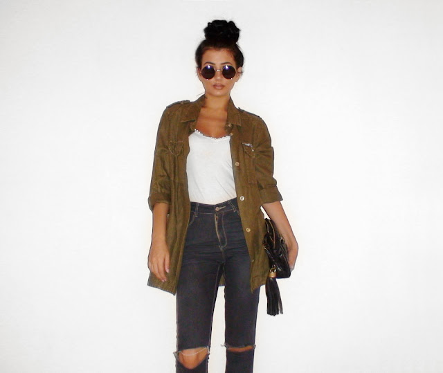 khaki jacket outfit ideas