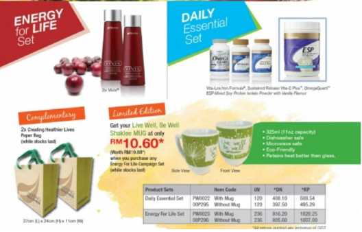 Ostematrix, Vitalea for Children, Alfalfa, Lecithin, set Energy, Set Daily Essential, Mug Shaklee dan Paper Beg