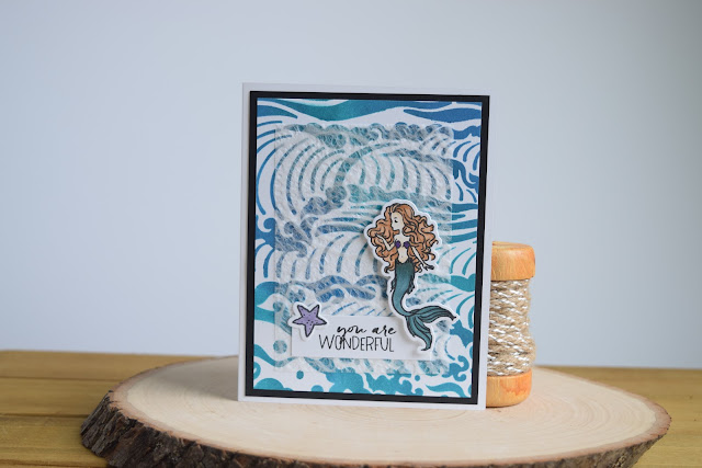 Mermaid Card by Jess Crafts using Hero Arts May 2017 Card Kit