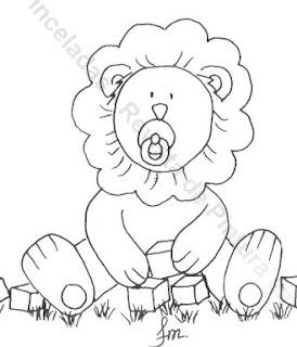 risco leãozinho com brinquedos para pintar em fralda