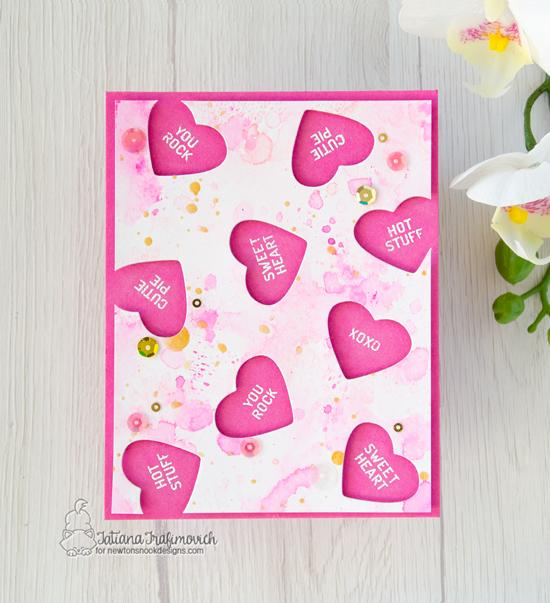 Valentine Card by Tatiana Trafimovich | Candy Heart Stamp Set and Die Set by Newton's Nook Designs #newtonsnook #handmade