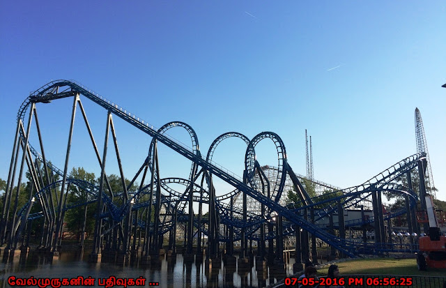 Blue Hawk looping roller coaster