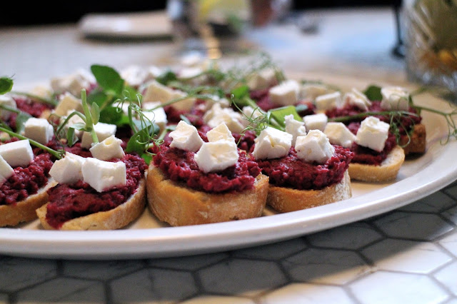 Beetroot Hummus and Feta Cheese - Veggie starter