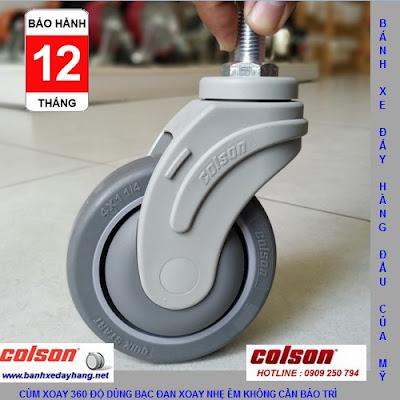 Bánh xe cọc vít càng nhựa phi 100 - 4 inch Colson Mỹ | STO-4854-448 banhxedaycolson.com