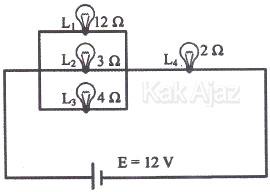 Empat buah lampu disusun seri dan paralel, soal rangkaian listrik IPA SMP UN 2017 no. 20