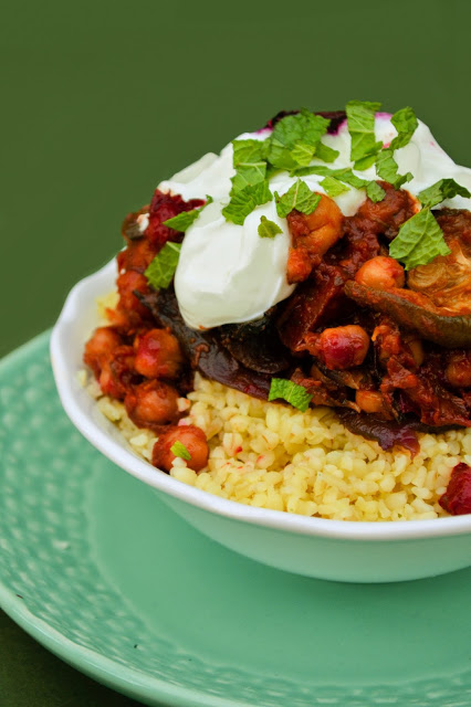 Vegan Roasted Vegetable and Chickpea Tagine with Bulgur Wheat
