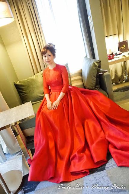 新娘紅色禮服髮型文定造型
