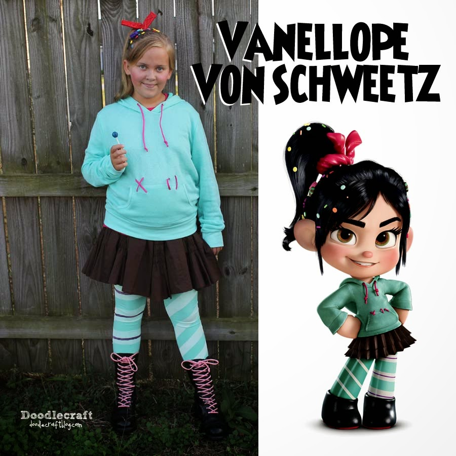 Handmade Teen cosplay of Vanellope Von Schweetz from Wreck it Ralph Disney costume DIY for teenage girls