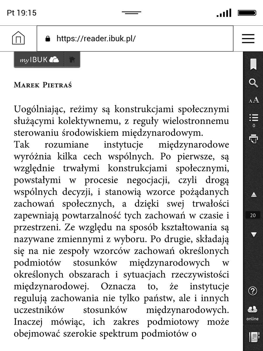 Książka z aplikacji webowej ibuk.pl w przeglądarce na PocketBook InkPad 3