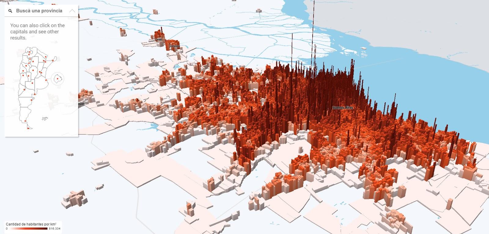 Population density in Argentina