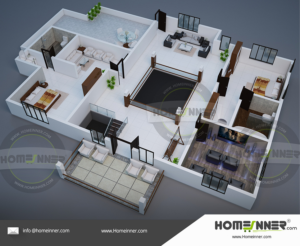 3D home plan 2800 sq ft 2BHK floor plan