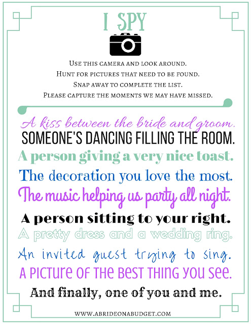 "Need a way to entertain your wedding guests? Give them a disposable camera and this ""I Spy"" game. You can print it for FREE at www.abrideonabudget.com."