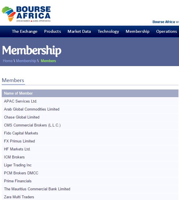 HotForex thành viên của Bourse Africa