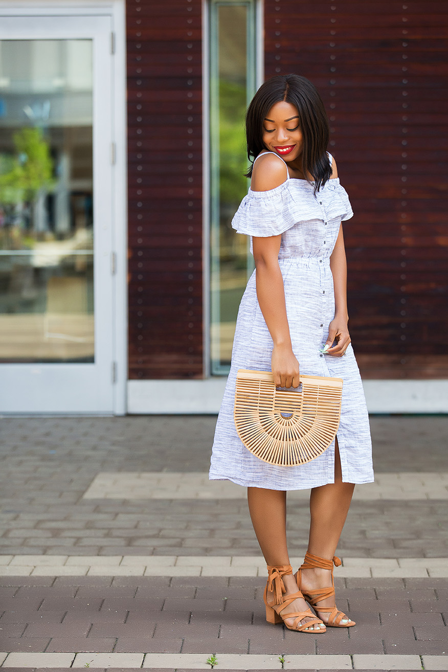 Lucky Brand off shoulder midi dress and strap heels, www.jadore-fashion.com