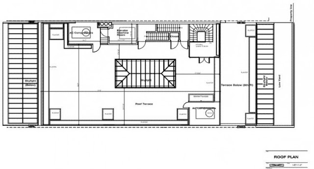Floor plan of the roof terrace in the Tribeca triplex