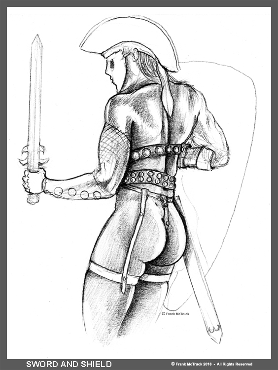 Frank McTruck swordsman pencil art 'Sword and Shield'