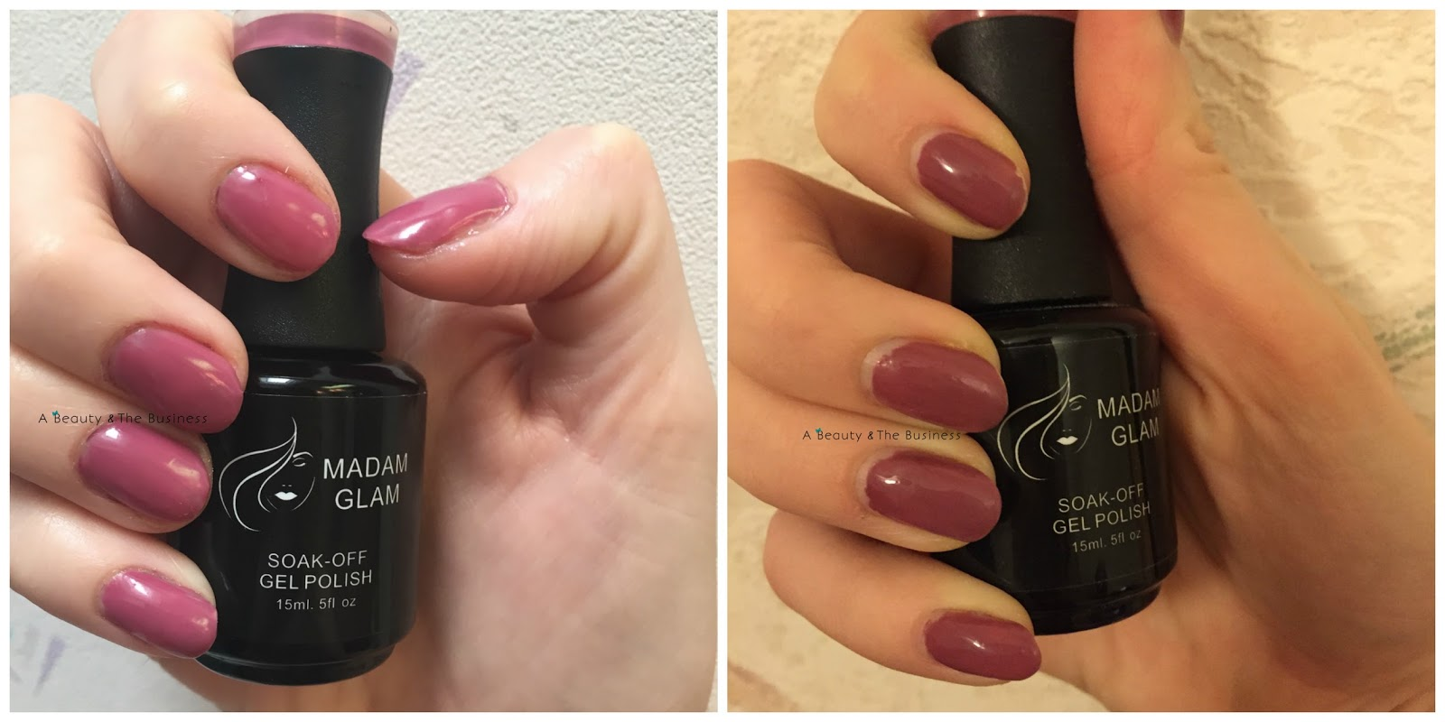 madam glam gel polish, Madam Glam Brand review, madam glam vintage pink, madam glam perfect white, madam glam pop goes my heart, madam glam swatches, a beauty and the business,
