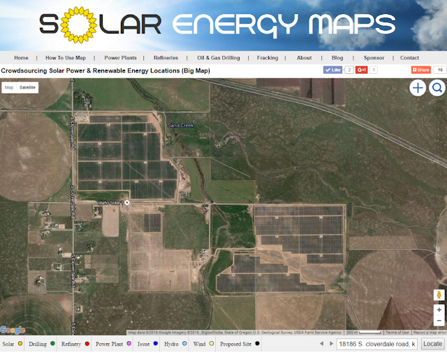 Idaho's first solar farm satellite image is on about 500 acres just southwest of Boise.
