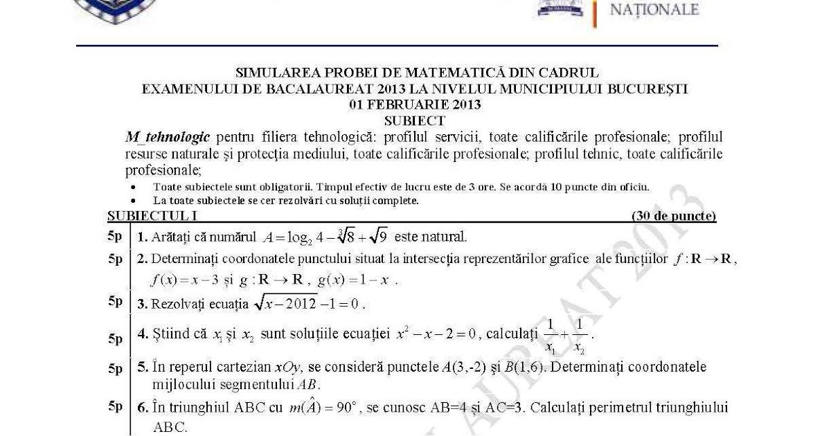 Examenul De Bacalaureat 2016: Subiecte Matematica