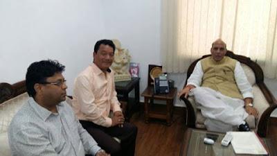 BImal Gurung, Roshan Giri with Rajnath Singh home minister