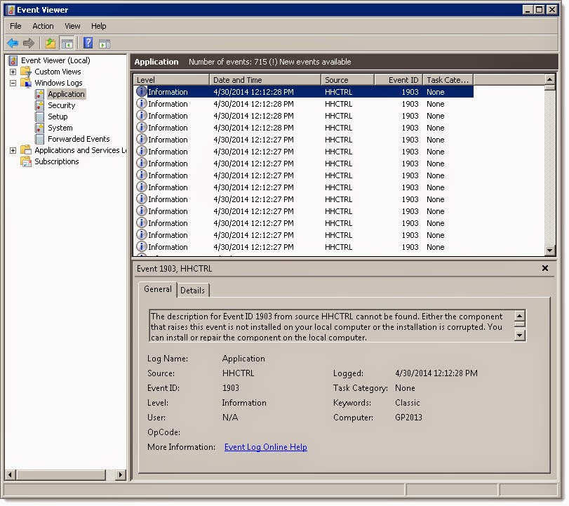 Error Log: Dynamics GP Land: Windows Application Event Log Fills With