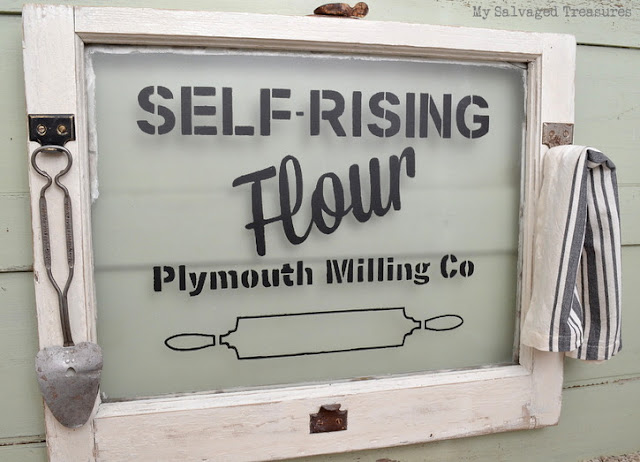 self-rising flour stencil Vintage Sign & Inspirational Stencils tutorial