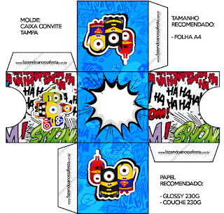 Cajas para Imprimir Gratis de Minions Super Héroes.
