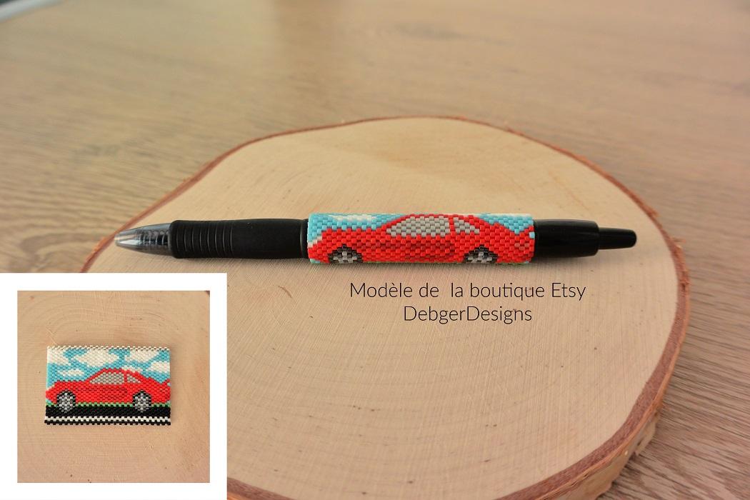 Cover pen voiture en perles Miyuki modèle Debger Designs tissé par Hello c'est Marine