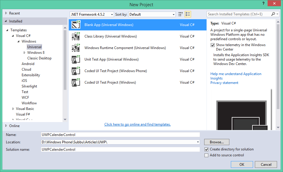 visual studio creates your project and displays it in the solution explorer