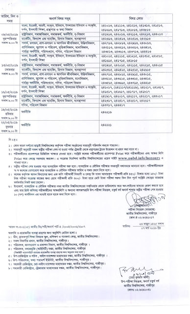 Honours 4th year exam routine 2019