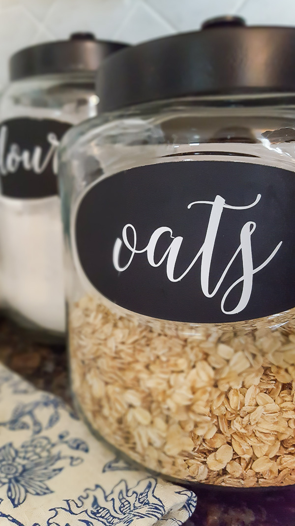 adding labels to kitchen canisters