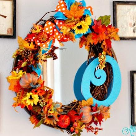 Blue and Orange Monogram Harvest Wreath